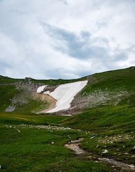 Beau paysage d'été par temps nuageux avec une rivière et des montagnes enneigées