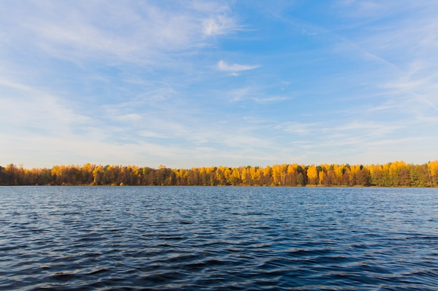 Beau paysage. grand lac en forêt d'automne. nature d'automne