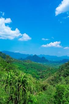 Beau paysage de montagne contre ciel nuageux