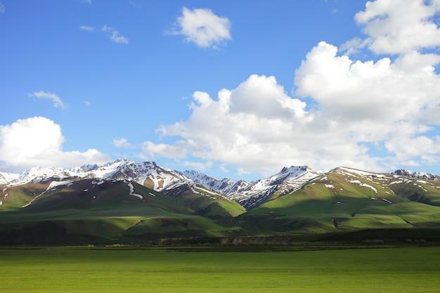 Beau paysage de montagne. la faune du kirghizistan. nuages dans le ciel.