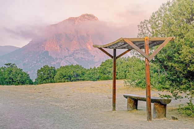Beau paysage de montagne pittoresque avec des conifères et des montagnes