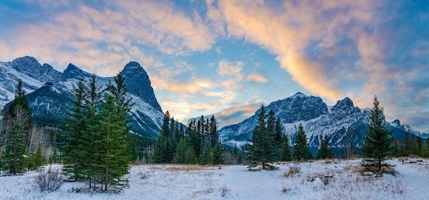Beau paysage de nature au crépuscule en hiver. ciel de nuages roses