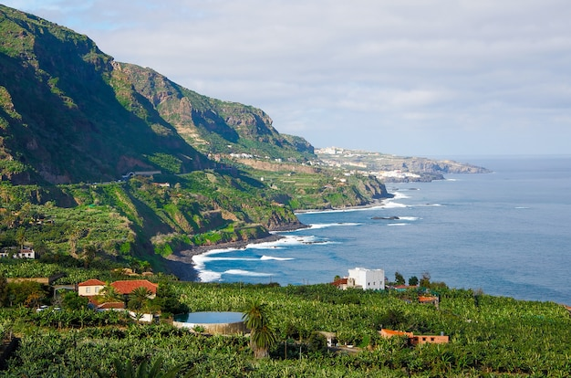 Beau paysage près de puerto de la cruz, dans le nord de l'île de tenerife, îles canaries, espagne