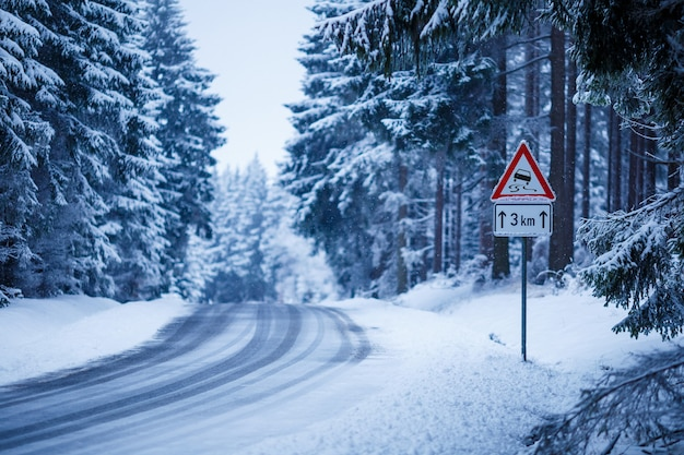 Beau paysage d'une route givrée entourée de sapins recouverts de neige