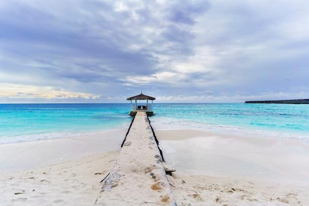 Beau paysage tranquille de l'île tropicale des maldives