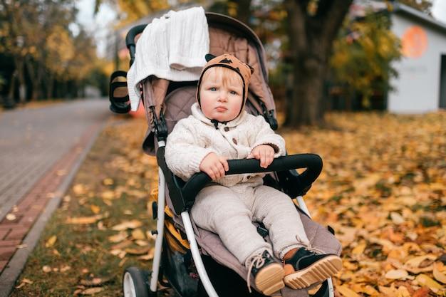 Un beau petit bébé dans une poussette à l'extérieur à l'automne.