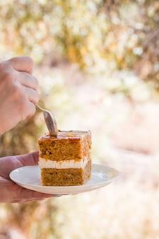 Beau pique-nique d'automne dans la nature dans le parc. délicieux gâteau de marque