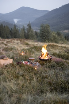 Beau pique-nique avec un feu de camp dans les montagnes