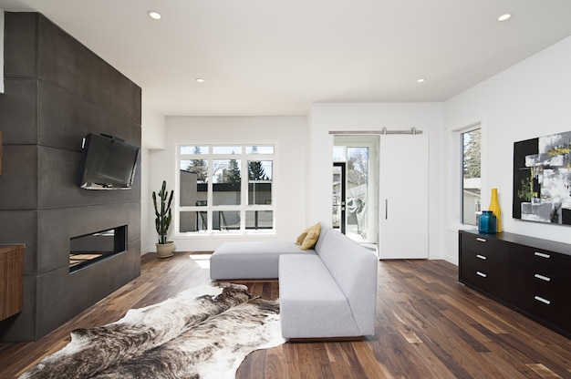 Beau plan intérieur d'une maison moderne avec des murs relaxants blancs et des meubles et de la technologie