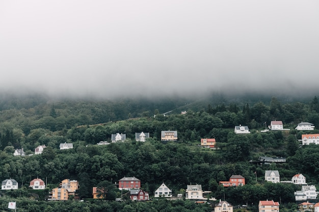 Beau plan symétrique de maisons colorées sur une colline brumeuse