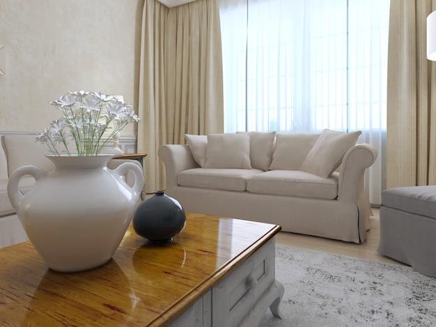 Beau salon avec canapé blanc.