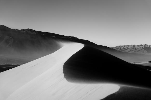 Beau tir en niveaux de gris d'un désert