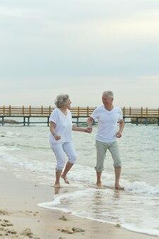 Beau vieux couple marchant sur la plage de la mer