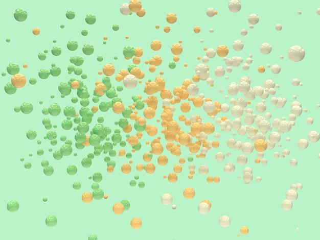 Beaucoup abstrait de balle / sphère jaune blanc vert rendu 3d rendu abstrait