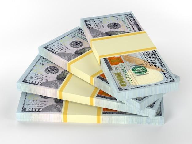 Beaucoup d'argent s'empile à partir de dollars. finances conceptuel
