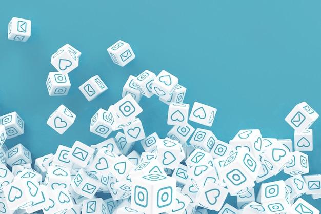 Beaucoup de blocs en chute avec des images de médias sociaux