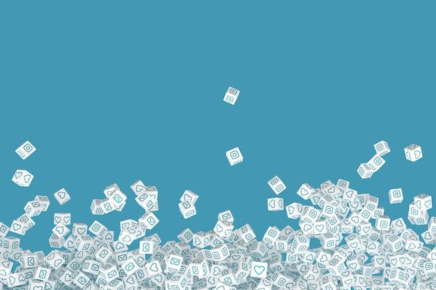 Beaucoup de blocs qui tombent avec les icônes sociales sur les visages. illustration 3d