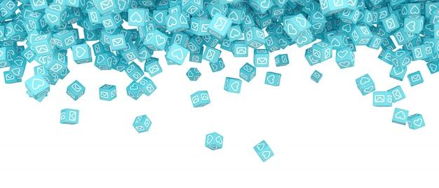 Beaucoup de blocs qui tombent avec des images d'illustration 3d de médias sociaux