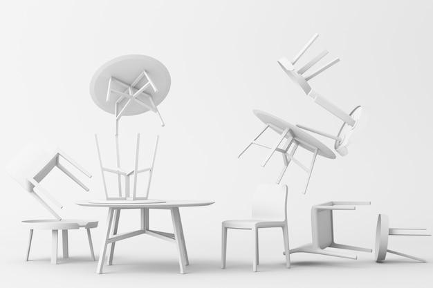 Beaucoup de chaises et table basse dans le rendu 3d de ton blanc