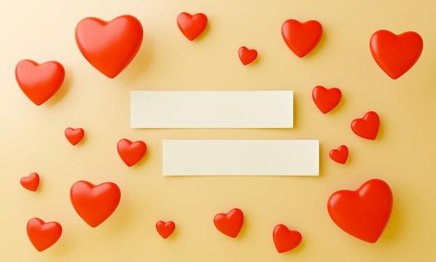 Beaucoup de coeurs rouges et de papier vierge au centre, mettant sur fond jaune. concept doux de la saint-valentin.