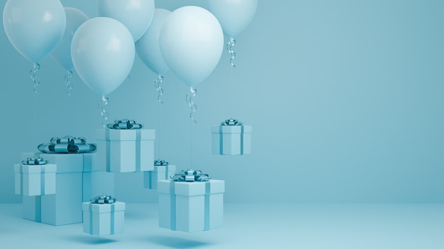 Beaucoup de coffret cadeau voler dans l'air avec ballon et fond pastel ruban bleu.