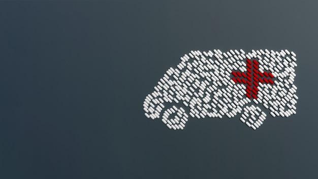 Beaucoup De Comprimés émiettés Sous La Forme D'une Ambulance Sur Une Table Colorée. Illustration 3d Photo Premium