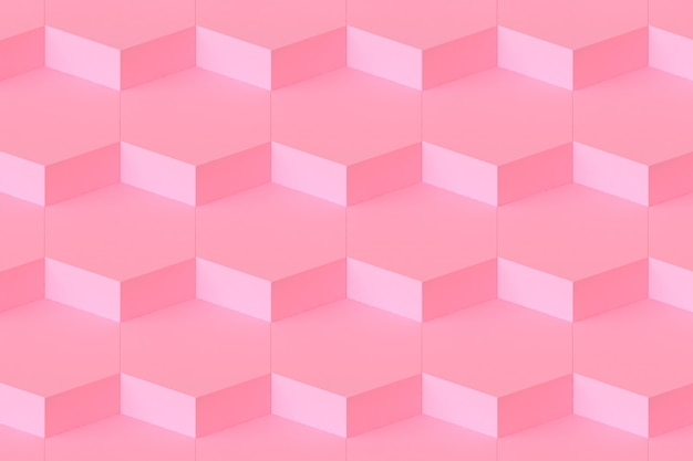 Beaucoup de connexion hexagonale rose modulaire abstrait fond rose rendu 3d