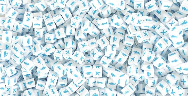 Beaucoup de cubes épars avec des logos de différents types de transport. illustration 3d