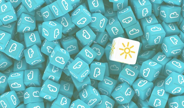 Beaucoup de cubes avec l'image des nuages et un cube avec l'image du soleil illustration 3d