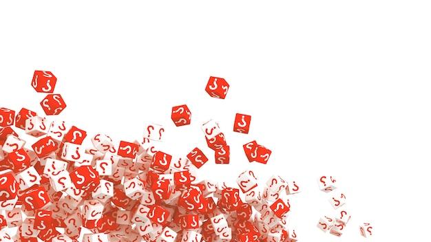 Beaucoup de cubes qui tombent avec des points d'interrogation