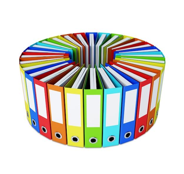 Beaucoup de dossiers multicolores formant un cercle isolé