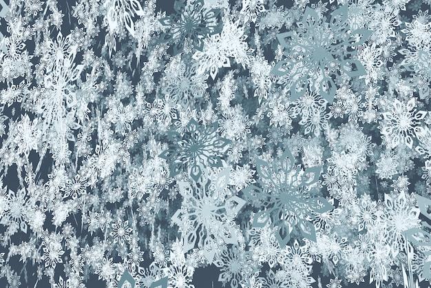 Beaucoup de flocons de neige fond bleu
