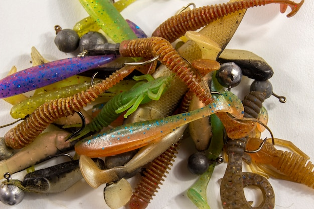 Beaucoup de leurres de poisson en silicone