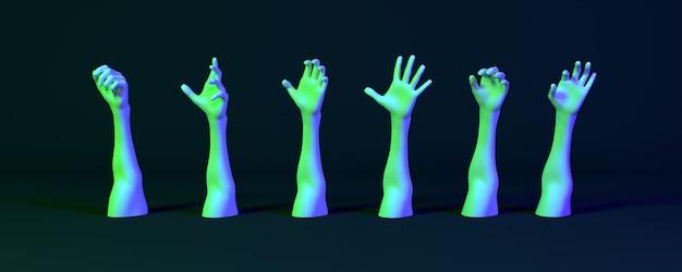 Beaucoup de mains en néon sur fond sombre, illustration 3d