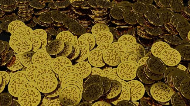 Beaucoup de pièces de crypto-monnaie se trouvent sur une surface sombre