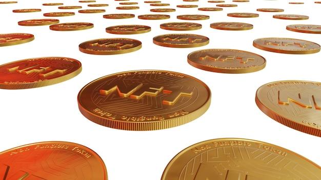 Beaucoup de pièces de monnaie jetons non fongibles pour la technologie blockchain d'art et de collection pour créer des objets uniques