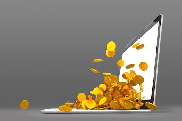 Beaucoup de pièces d'or débordant du moniteur d'ordinateur portable