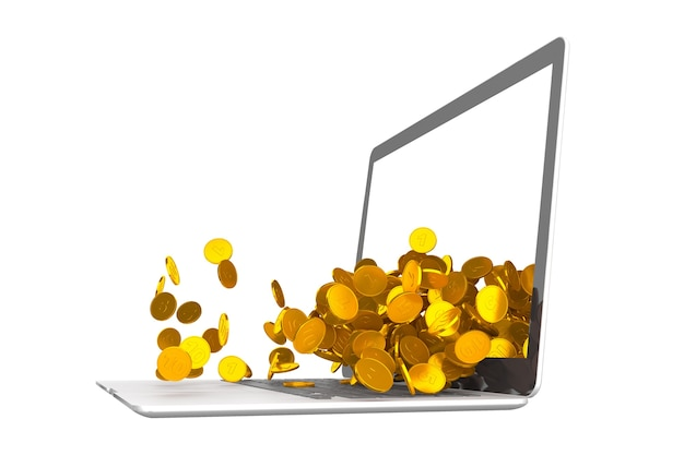 Beaucoup de pièces s'échappant de l'illustration 3d d'ordinateur portable