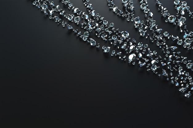 Beaucoup de pierres précieuses dispersées sur le côté par des vagues sur un fond noir. illustration 3d