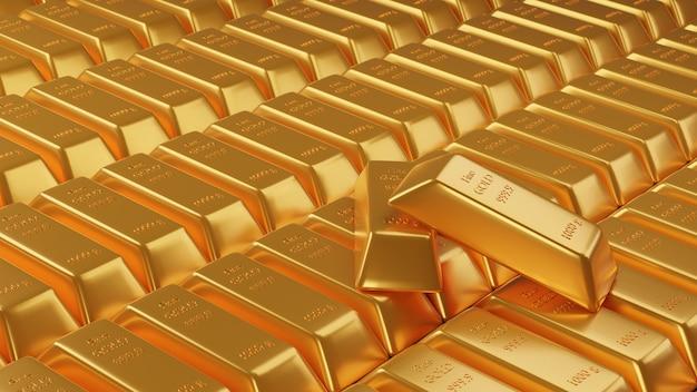 Beaucoup de pile de lingots d'or