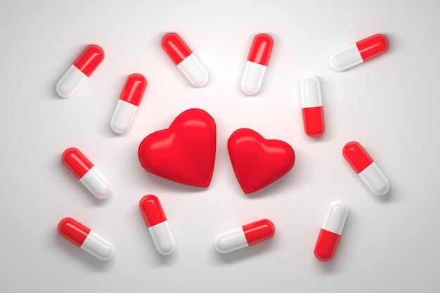 Beaucoup de pilules avec des casquettes rouges et blanches et deux coeurs rouges au centre sur blanc