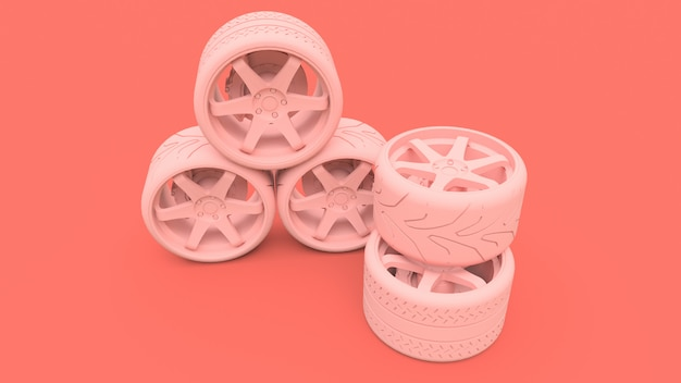 Beaucoup de roues de voitures de sport debout ensemble. installation de style minimal. rendu 3d.