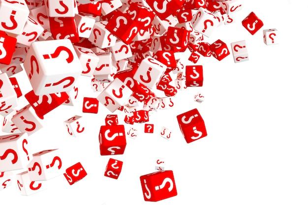 Beaucoup de dés rouges et blancs en chute avec des points d'interrogation sur les côtés. illustration 3d