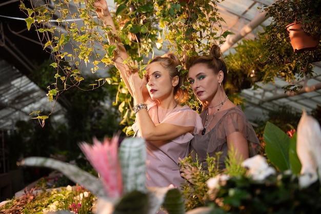 Beauté de la nature. jolies femmes magnétiques vous regardant debout au milieu d'une serre