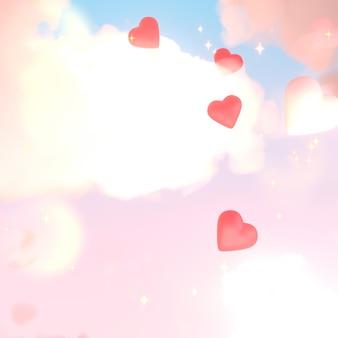 Beaux coeurs dans le ciel pastel avec des lumières rougeoyantes et des paillettes image rendue 3d