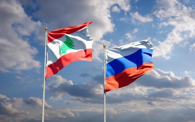 Beaux drapeaux d'état national du liban et de la russie ensemble sur le ciel bleu. illustration 3d
