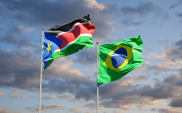 Beaux drapeaux d'état national du soudan du sud et du brésil ensemble sur ciel bleu