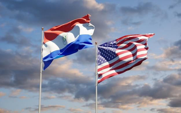Beaux drapeaux des états nationaux du paraguay et des états-unis ensemble