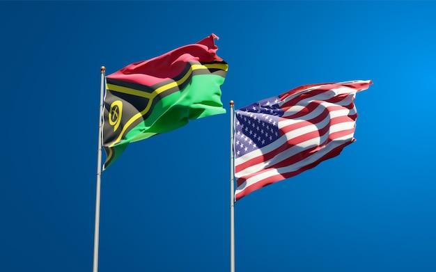 Beaux drapeaux des états nationaux du vanuatu et des états-unis ensemble