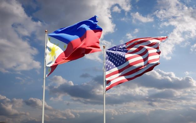 Beaux drapeaux des états nationaux des philippines et des états-unis ensemble